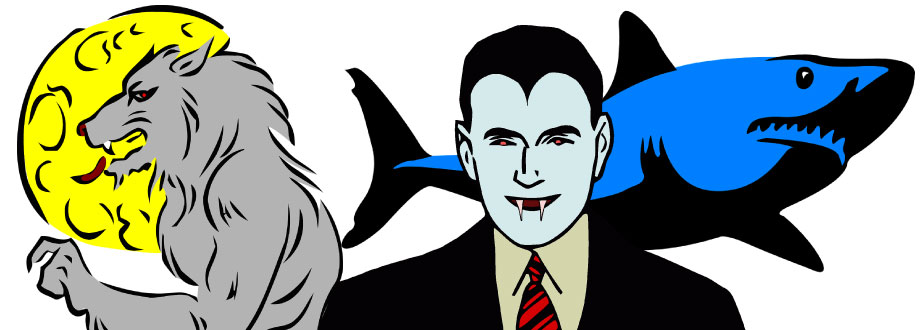 illustrations of werewolf, dracula, and shark