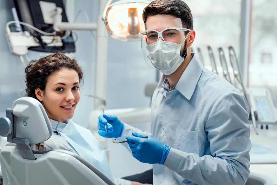 young girl at the dentist for a semi annual cleaning